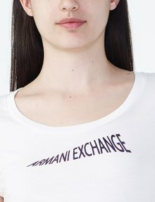 ARMANI EXCHANGE FLOCKED CRESCENDO TEE Logo T-shirt Woman e