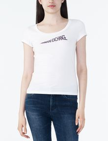 ARMANI EXCHANGE FLOCKED CRESCENDO TEE Logo T-shirt Woman f