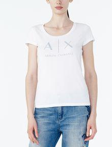 ARMANI EXCHANGE CLASSIC AX SCOOP NECK TEE Logo T-shirt Woman f