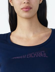 ARMANI EXCHANGE FLOCKED CRESCENDO TEE Logo T-shirt D e