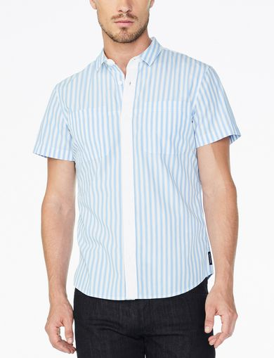 ARMANI EXCHANGE SHORT-SLEEVE CONTRAST PLACKET SHIRT Man front