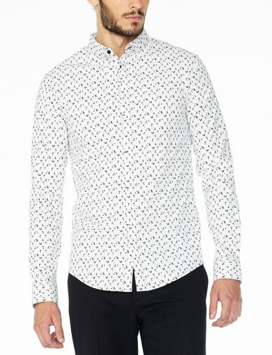 ARMANI EXCHANGE SLIM SCRAMBLED LOGO SHIRT Man front