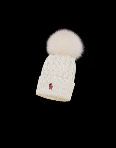 POMPOM BEANIE White Grenoble Hats Woman