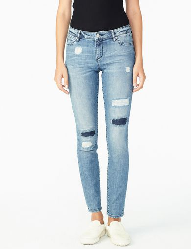 ARMANI EXCHANGE REPAIRED PATCH DETAIL SKINNY JEAN Woman front