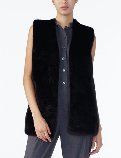 ARMANI EXCHANGE FAUX-FUR SWEATER VEST Woman front