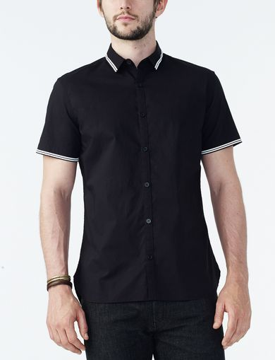 ARMANI EXCHANGE SHORT-SLEEVE FLOCK TIPPED SHIRT Man front