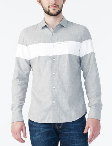 ARMANI EXCHANGE HEATHERED COLORBLOCK SHIRT Man front