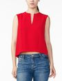 ARMANI EXCHANGE TEXTURED V-DETAIL SHELL S/L Woven Top D f