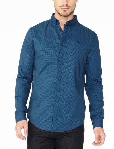 ARMANI EXCHANGE SLIM-FIT OPTICAL PRINT SHIRT Man front