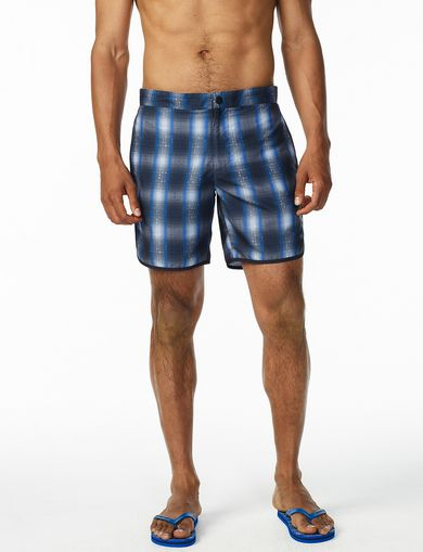 ARMANI EXCHANGE DIGITAL PLAID SWIM TRUNK Man front