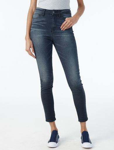 ARMANI EXCHANGE WHISKERED HIGH-RISE SUPER-SKINNY JEAN Woman front