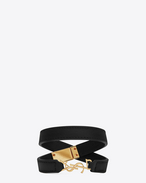 SAINT LAURENT Leather Bracelets D ysl double wrap bracelet in black leather and gold-toned brass f