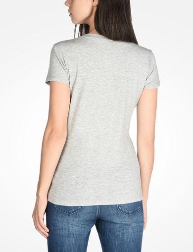 メタリックロゴ VネックTシャツ