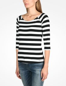 ARMANI EXCHANGE STRIPED BOATNECK TOP L/S Knit Top D d