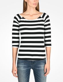 ARMANI EXCHANGE STRIPED BOATNECK TOP L/S Knit Top D f