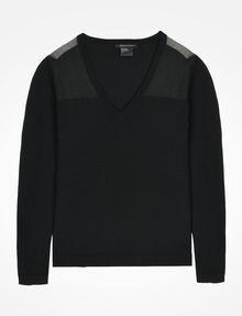 ARMANI EXCHANGE SHEER YOKE V-NECK SWEATER Pullover D b