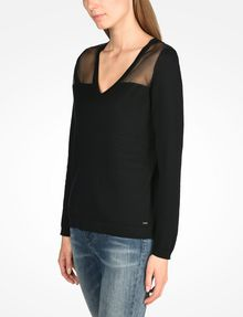 ARMANI EXCHANGE SHEER YOKE V-NECK SWEATER Pullover Woman d