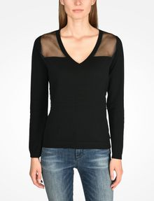 ARMANI EXCHANGE SHEER YOKE V-NECK SWEATER Pullover Woman f