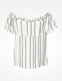 ARMANI EXCHANGE STRIPED RUFFLE OFF THE SHOULDER BLOUSE S/S Woven Top D b