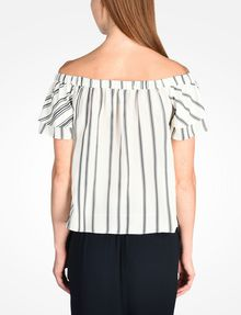ARMANI EXCHANGE STRIPED RUFFLE OFF THE SHOULDER BLOUSE S/S Woven Top D r