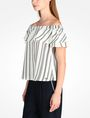 ARMANI EXCHANGE STRIPED RUFFLE OFF THE SHOULDER BLOUSE S/S Woven Top D d