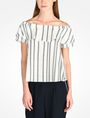 ARMANI EXCHANGE STRIPED RUFFLE OFF THE SHOULDER BLOUSE S/S Woven Top D f