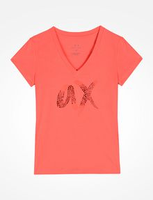 ARMANI EXCHANGE BEADED AX V-NECK TEE Logo Tee D b