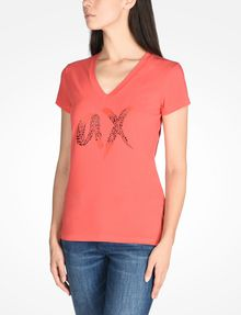 ARMANI EXCHANGE EMBELLISHED AX V-NECK TEE Logo T-shirt Woman d
