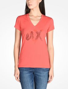 ARMANI EXCHANGE BEADED AX V-NECK TEE Logo Tee D f