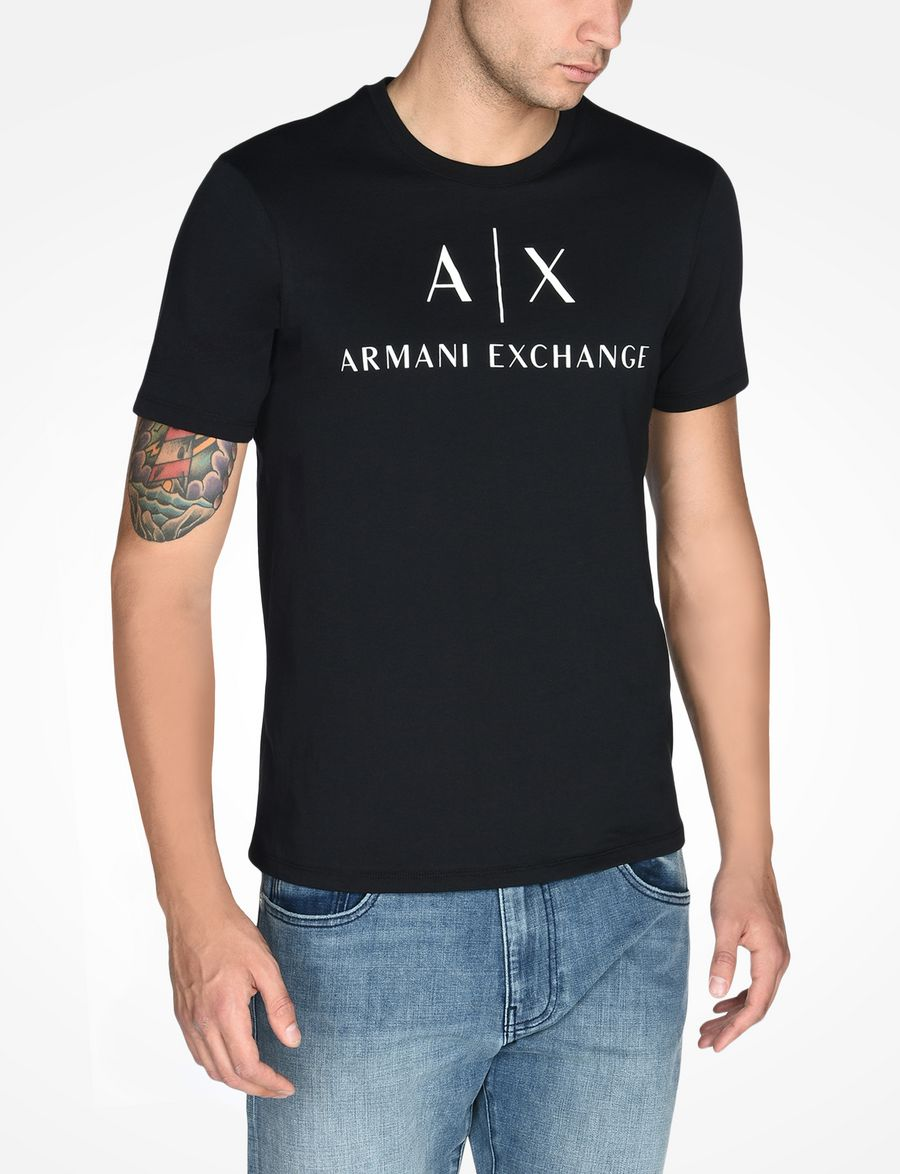 Black t shirt armani - Armani Exchange Ax Crewneck T Shirt Man Front