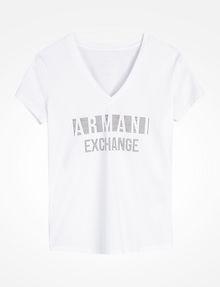 ARMANI EXCHANGE NAIL STUD V-NECK TEE Logo-T-Shirt Damen b