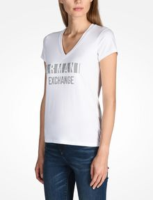 ARMANI EXCHANGE NAIL STUD V-NECK TEE Logo-T-Shirt Damen d
