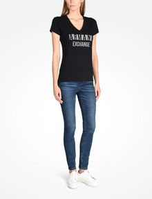 ARMANI EXCHANGE NAIL STUD V-NECK TEE Logo-T-Shirt [*** pickupInStoreShipping_info ***] a