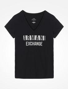 ARMANI EXCHANGE NAIL STUD V-NECK TEE Logo T-shirt Woman b