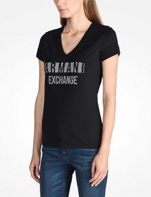 ARMANI EXCHANGE NAIL STUD V-NECK TEE Logo T-shirt Woman d