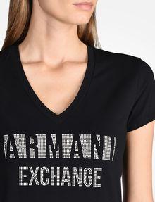 ARMANI EXCHANGE NAIL STUD V-NECK TEE Logo T-shirt Woman e
