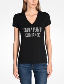 ARMANI EXCHANGE NAIL STUD V-NECK TEE Logo T-shirt Woman f