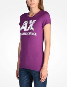ARMANI EXCHANGE SLASHED LOGO GLAM TEE Logo T-shirt [*** pickupInStoreShipping_info ***] d
