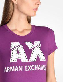 ARMANI EXCHANGE SLASHED LOGO GLAM TEE Logo T-shirt [*** pickupInStoreShipping_info ***] e