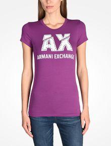 ARMANI EXCHANGE SLASHED LOGO GLAM TEE Logo T-shirt [*** pickupInStoreShipping_info ***] f