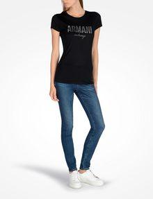 ARMANI EXCHANGE SPECKLE FOIL TEE Logo T-shirt Woman a