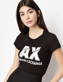 ARMANI EXCHANGE SLASHED LOGO GLAM TEE Logo T-shirt Woman b