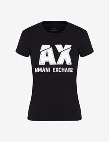 ARMANI EXCHANGE SLASHED LOGO GLAM TEE Logo T-shirt Woman r