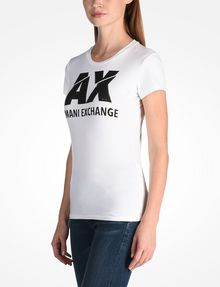 ARMANI EXCHANGE SLASHED STUD LOGO TEE Logo T-shirt Woman d