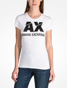 ARMANI EXCHANGE SLASHED STUD LOGO TEE Logo T-shirt Woman f