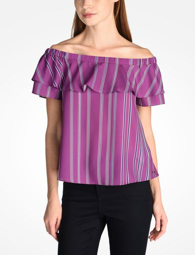 STRIPED RUFFLE OFF THE SHOULDER BLOUSE