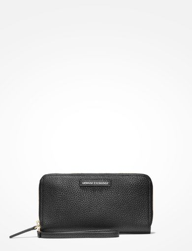 PEBBLED FAUX-LEATHER WRISTLET WALLET