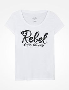 ARMANI EXCHANGE REBEL SCOOP NECK TEE Logo Tee D b