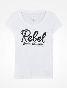 ARMANI EXCHANGE REBEL SCOOP NECK TEE Logo T-shirt D b