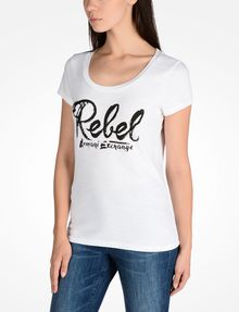 ARMANI EXCHANGE REBEL SCOOP NECK TEE Logo Tee D d
